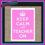 KEEP CALM AND TEACHER ON JUTE  SHOPPING GIFT BAG 002
